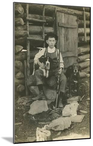 Boy with Rifle and Two Dogs--Mounted Art Print