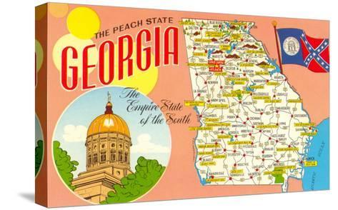 The Peach State, Georgia, Map--Stretched Canvas Print