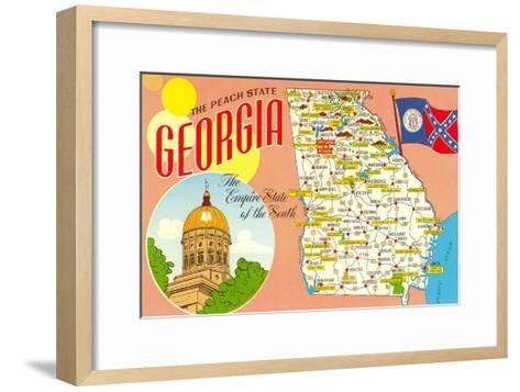 The Peach State, Georgia, Map--Framed Art Print