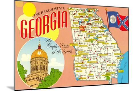 The Peach State, Georgia, Map--Mounted Art Print