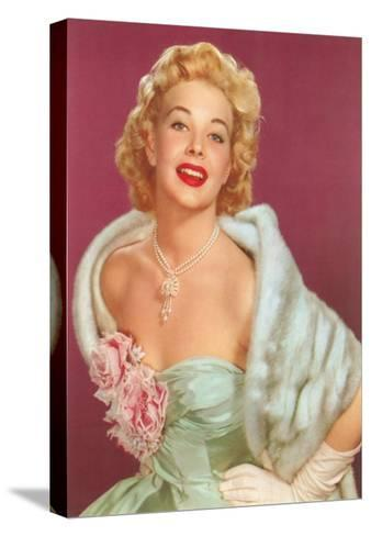 Fifties Blonde in Formal and Fur--Stretched Canvas Print