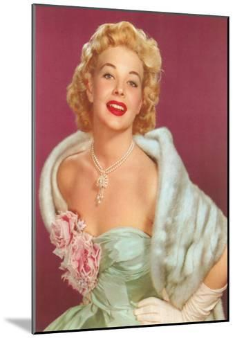 Fifties Blonde in Formal and Fur--Mounted Art Print