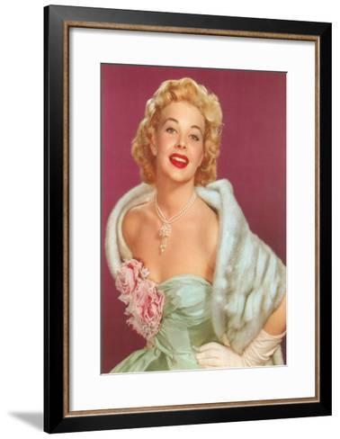 Fifties Blonde in Formal and Fur--Framed Art Print