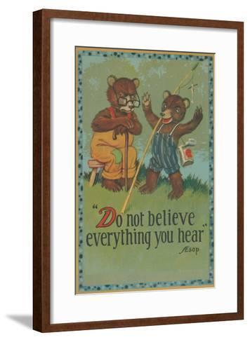 Baby Bear Telling Fish Tale--Framed Art Print