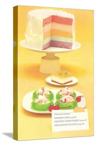 Rainbow Cake, Desserts--Stretched Canvas Print