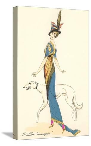 French Fashion, Greyhound--Stretched Canvas Print