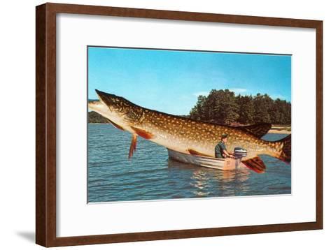 Giant Pike in Boat--Framed Art Print