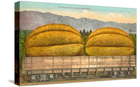 Giant Cantaloupe in Rail Car--Stretched Canvas Print