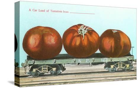 Giant Tomatoes on Flatbed--Stretched Canvas Print