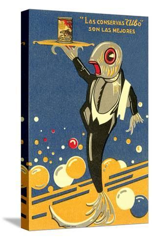 Fish-Waiter Serving Salmon--Stretched Canvas Print