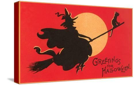 Greetings for Halloween, Witch on Broomstick--Stretched Canvas Print