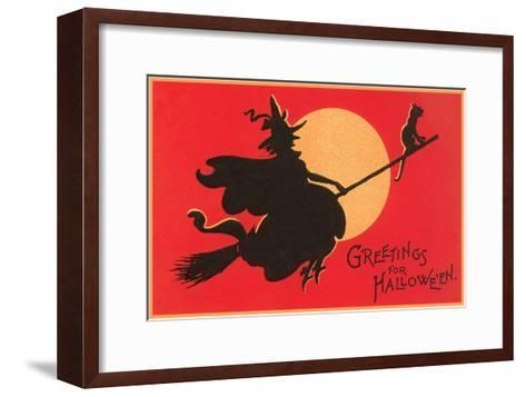 Greetings for Halloween, Witch on Broomstick--Framed Art Print