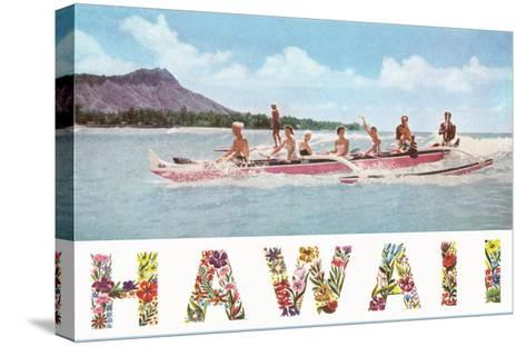 Hawaii, Outrigger at Diamond Head--Stretched Canvas Print