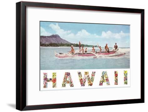 Hawaii, Outrigger at Diamond Head--Framed Art Print