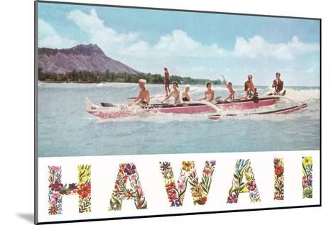 Hawaii, Outrigger at Diamond Head--Mounted Art Print