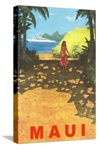 Maui, Cruise Ship, Hawaiian Girl on Jungle Path--Stretched Canvas Print