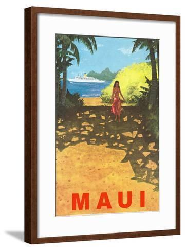 Maui, Cruise Ship, Hawaiian Girl on Jungle Path--Framed Art Print