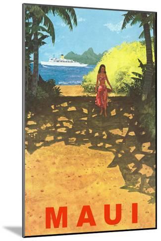 Maui, Cruise Ship, Hawaiian Girl on Jungle Path--Mounted Art Print