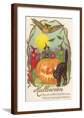 Witches, Bats Owl, Cat, Jack O'Lantern--Framed Art Print