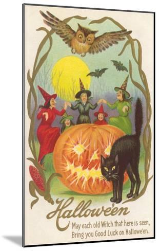 Witches, Bats Owl, Cat, Jack O'Lantern--Mounted Art Print