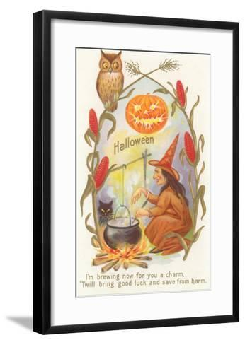 Witch with Cauldron--Framed Art Print