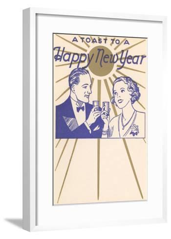A Toast to a Happy New Year, Couple--Framed Art Print