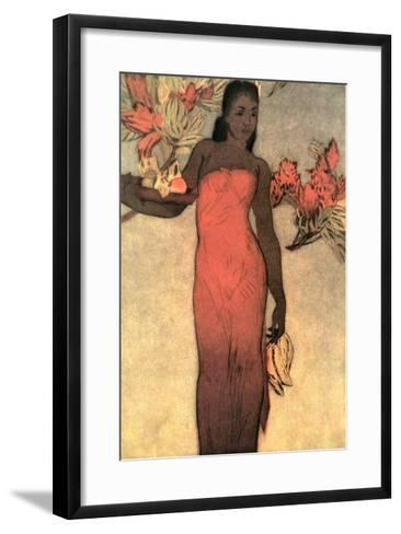 Hawaiian Woman with Fruit and Flowers--Framed Art Print
