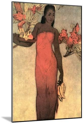 Hawaiian Woman with Fruit and Flowers--Mounted Art Print