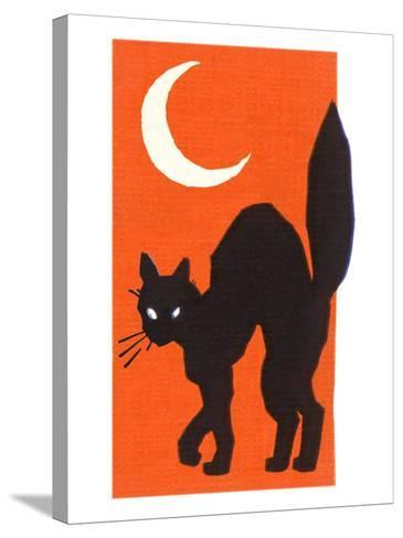 Black Cat and Moon--Stretched Canvas Print