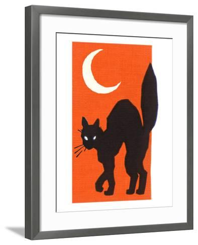 Black Cat and Moon--Framed Art Print