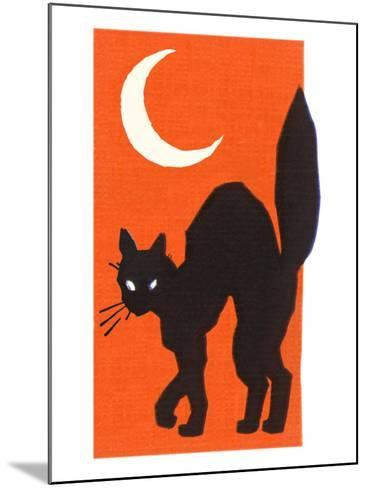 Black Cat and Moon--Mounted Art Print
