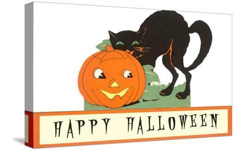 Happy Halloween, Cat and Jack O'Lantern--Stretched Canvas Print