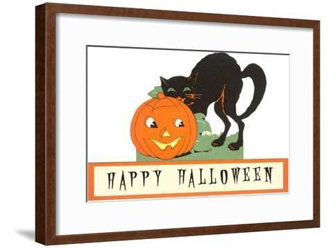 Happy Halloween, Cat and Jack O'Lantern--Framed Art Print