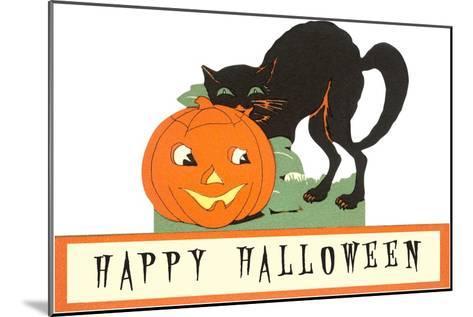 Happy Halloween, Cat and Jack O'Lantern--Mounted Art Print