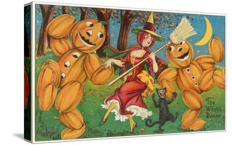 The Witch's Dance, Jack O'Lanterns, Cat--Stretched Canvas Print
