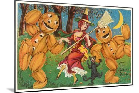 The Witch's Dance, Jack O'Lanterns, Cat--Mounted Art Print