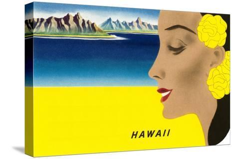 Hawaiian Lady with Islands, Graphics--Stretched Canvas Print