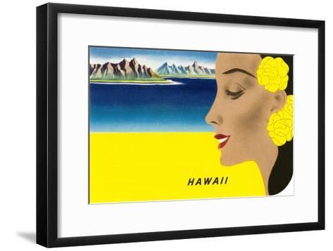 Hawaiian Lady with Islands, Graphics--Framed Art Print