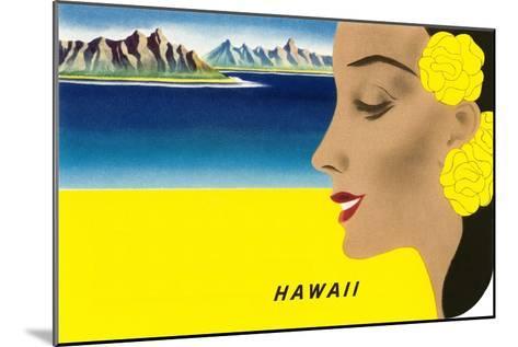 Hawaiian Lady with Islands, Graphics--Mounted Art Print
