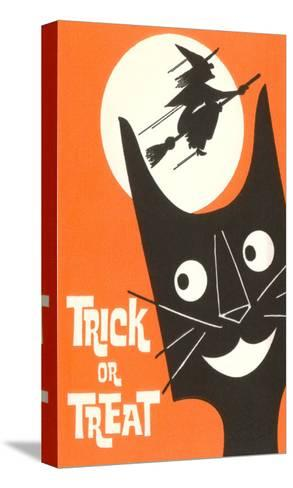 Trick or Treat, Cartoon Cat, Witch by Moon--Stretched Canvas Print