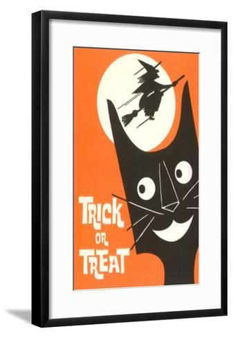 Trick or Treat, Cartoon Cat, Witch by Moon--Framed Art Print