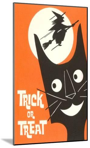 Trick or Treat, Cartoon Cat, Witch by Moon--Mounted Art Print