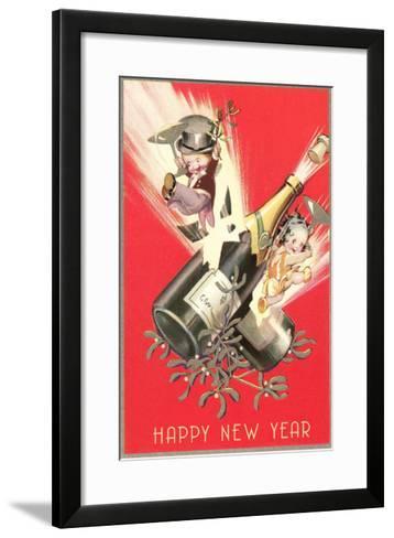 Cartoon Children with Champagne Bottles--Framed Art Print