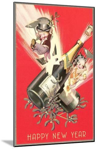 Cartoon Children with Champagne Bottles--Mounted Art Print