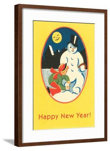 Child, Snowman, Smiling Moon--Framed Art Print