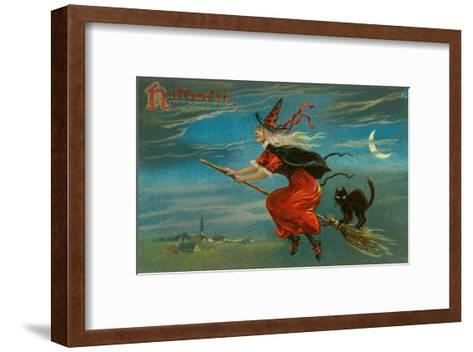 Halloween, Witch and Cat on Broom--Framed Art Print