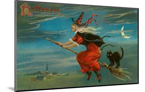 Halloween, Witch and Cat on Broom--Mounted Art Print