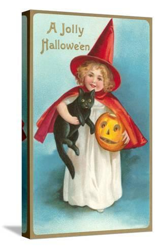 A Jolly Halloween, Little Girl Witch with Cat and Jack O'Lantern--Stretched Canvas Print