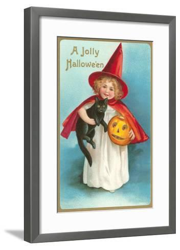 A Jolly Halloween, Little Girl Witch with Cat and Jack O'Lantern--Framed Art Print
