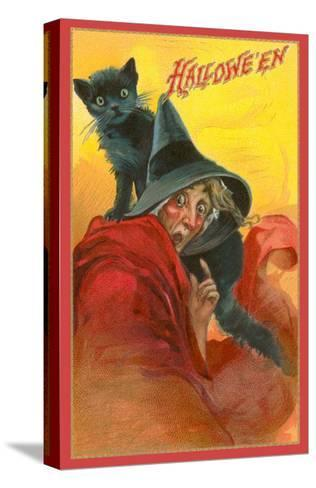 Halloween, Startled Witch and Cat--Stretched Canvas Print